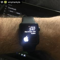 #Repost @winphankyle  I went with another #apple theme for my #applewatch face today. Mixture of the #applelogo and a #stevejobs quote. #minimalist #stayhungrystayfoolish #applewatchsport #applewatchfans #applewatchlove #applewatchcustomfaces  Check website link in bio  #applewatchface #applewatchfaces #wallpaper #applewatchwallpaper #watchface #watchos2 #watchos #applestore #appstore #iphone #iphone5 #iphone5s #iphone6 #iphone6plus #iphone6s #iphone6splus #ipad #iphoneonly…