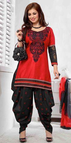 USD 25.87 Ayesha Takia Red Cotton Satin Punjabi Suit 47245