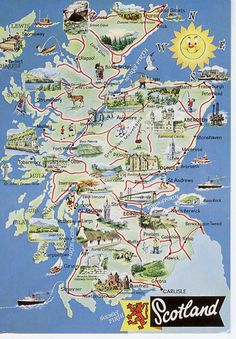 Map of Scotland Scotland Map, England And Scotland, Scotland Travel, Ireland Travel, Scotland History, Scotland Tourist Attractions, Tourist Map, Scotland Vacation, Scotland Road Trip