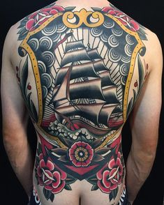 Full Back Nautical Tattoo Ship Sailor Tattoos, Boy Tattoos, Body Art Tattoos, Ankle Tattoos, Arrow Tattoos, Back Piece Tattoo, Chest Piece Tattoos, Back Tattoos For Guys, Full Back Tattoos