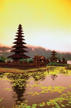 Pura Ulun Danu Temple on Lake Bratan, Bali, Indonesia