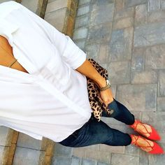 IG @mrscasual <click through to shop this look> White washed soft chambray shirt.  Paige maternity skinny jeans.  Topshop red lace up flats. clare v leopard foldover clutch.