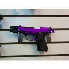 Beretta Pistol in passion purple. Hmm bigger than I like for a gun, but pretty. Purple Gun, Overwatch, 9mm Pistol, Revolvers, Guns And Roses, Fire Powers, Cool Guns, Guns And Ammo, Self Defense