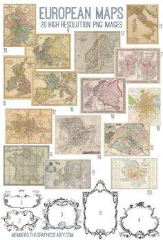 European Maps Image Kit - Graphics Fairy Premium Membership Site.