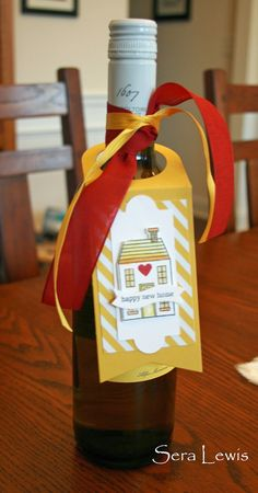 Use the Stampin' Up! Holiday Home stamp set for more than holiday cards -- here's a wine bottle gift tag from Pink Paper Bakery.