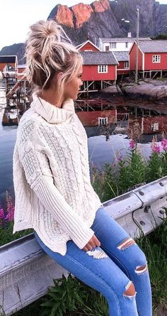 #summer #outfits White Knit + Ripped Skinny Jeans