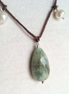 mother's day gift aquamarine necklace pearl by keatleydesigns