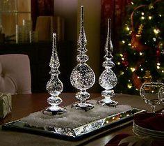Set of 3 Mercury Glass Illuminated Finials by Valerie — QVC.com