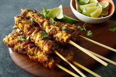 Pork Satay With Thai Spices and Peanut Sauce Recipe Pork Satay, Chicken Satay, Chicken Skewers, Peanut Sauce Recipe, Sauce Recipes, Chicken Recipes, Cooking Recipes, Thai Cooking, Grilling Recipes