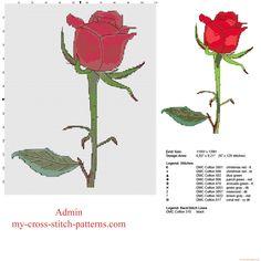 A beautiful red rose free cross stitch pattern