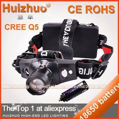 [Huizhuo Lighting]500 Lumen CREE Q5 5W LED Headlamp 3 modes Waterproof  Zoomable Hiking Headlight