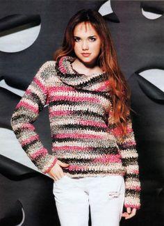 Мир хобби: Полосатый пуловер (вязание крючком)