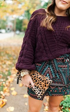 Cable Knit Chenille Sweater / Wrap Skirt for fall / Fall Outfit Idea via Glitter & Gingham / Best Sweater for fall