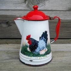 Old RED and WHITE COFFEE POT HP HEN EGGS ROOSTER Art Hand Painted Trish McMurry