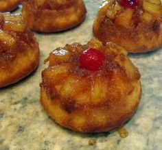 Pineapple Upside-Down Cupcakes..use the Cooking the Australian Way recipe and bake in muffin tins.