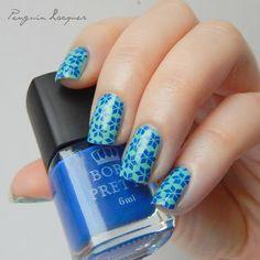 p2 fresh sister and Born Pretty blue stamping polish