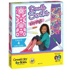Color 2 pairs of socks to make an outstanding fashion statement! Doodle Socks Knee High is coloring fun for your feet!