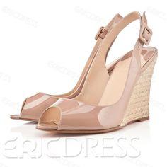 Elegant Patent Leather Upper Wedge Heels Peep Toe Women Sandals Wedge Sandals
