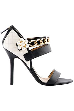 Dsquared2 Black & White Chain Sandal with Chrystal Flower 2014 Pre-Fall #Shoes #Heels