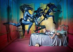 This series is called Equestrian Dreams by David LaChapelle. I really like the use of props (horses) to represent the dream really coming to life. I like the bedroom setup and the expression of the model's nightmare to really tell a story.