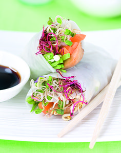 Chicken and sprout rice-paper wraps plus how to grow your own sprouts