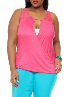 14c38e4fd44 Rainbow Shops Pink Plus Size Lace Trim Wrap Front Top  12.99