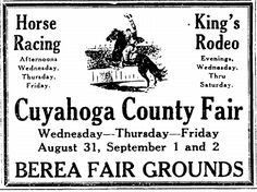 "An ad for the Cuyahoga County Fair, published in the Plain Dealer newspaper (Cleveland, Ohio), 28 August 1927. Read more on the GenealogyBank blog: ""Filling In My Family Tree with Stories in Old Newspapers."" http://blog.genealogybank.com/filling-in-my-family-tree-with-stories-in-old-newspapers.html"