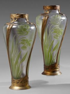 Art Nouveau cameo glass vases with daffodils, metal frames by Orivit, 42cm high