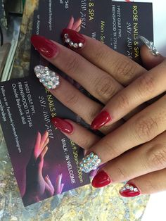 Red and diamond nails design