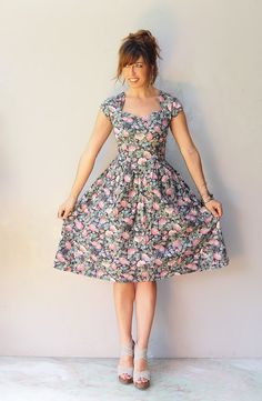 1950s sundress / butterfly floral dress by FiregypsyVintage, $58.92
