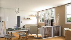 Redistribution des espaces dans ce #sejour à l'ambiance #scandinave