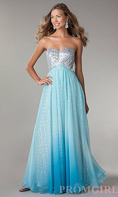 Strapless Sequin Ombre Gown by Jump 340 Silver/Turquoise