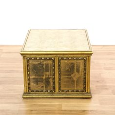 This end table is featured in a solid wood with a crackled gold finish. This American traditional style side table has ample storage space and carved panels. Perfect next to the couch! #americantraditional #tables #endtable #sandiegovintage #vintagefurniture