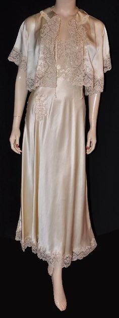 1930s Silk & Lace Nightgown & Bed Jacket Set
