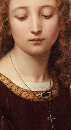 Ernst Deger (1809 -1885), Portrait of a Young Woman, 1853, detail.:.