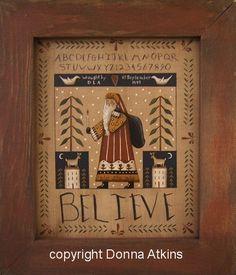 BELIEVE Santa Sampler E-Pattern. A Prim Folk Art DIY Painting Pattern by Donna Atkins
