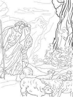 God Speaks to Moses from the Burning Bush coloring page