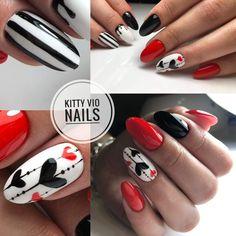 Silver Nails, Bling Nails, Red Nails, Bling Bling, Heart Nail Designs, Valentine's Day Nail Designs, Love Nails, Pretty Nails, Valentine Nail Art