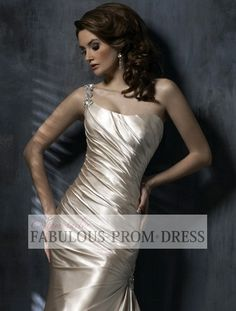 2013 Style Trumpet / Mermaid One Shoulder Court Trains Sleeveless Taffeta Wedding Dress