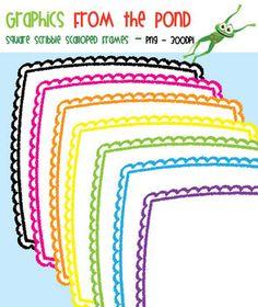 Square Scribble Scalloped Frames - Graphics for Teachers