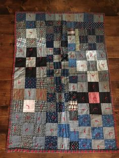 Old Antique Handmade Child's Quilt Blue Calico Great Condition! Textile AAFA