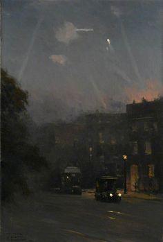 arcadiainteriorana: A Zeppelin Raid, 8 October 1915John Fraser (British, 1858–1927) Oil on canvas, 45.7 x 30.5 cm, 1915–1918.National Maritime Museum.