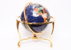 Semi-Precious Stone Globe on Brass Stand. #EBTH
