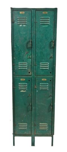 1920's vintage . industrial . green enameled steel locker.  Would be perfect for living room cabinets!