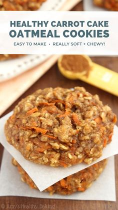 """These healthy carrot cake oatmeal cookies are super soft, chewy & easy to make! They do NOT taste """"healthy"""" at all! They taste just like regular carrot cake: sweet, spiced, extra cozy... So it can be our little secret that they're low calorie, clean eating & made with zero refined sugar! This simple recipe is *totally* worth saving. I make it ALL the time — you'll never need another oatmeal cookie recipe again! #healthy #oatmealcookies #cleaneating #dessert #easyrecipe Healthy Carrot Cakes, Healthy Cookie Recipes, Healthy Deserts, Healthy Cookies, Healthy Sweets, Healthy Baking, Simple Cookie Recipe, Simple Healthy Snacks, Yummy Healthy Food"""