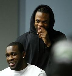 Richard Sherman, right, and Kam Chancellor, were on hand when safety Earl Thomas announced his new contract last April<br/> in Renton.