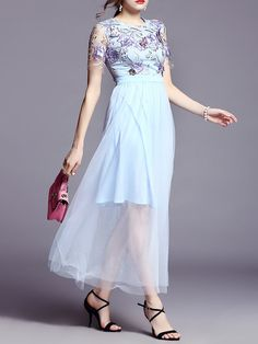 Appliqued Polyester A-line Casual Short Sleeve Maxi Dress