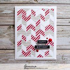 Label Maker Sentiments stamp set and Split Chevron Cover-Up Die-namics - Gemma Campbell #mftstamps