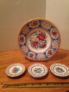 4~MODRA Slovak Hand Painted WALL PLATES Majolica Folk Art Pottery~ Kerimaka Hand Painted Walls, Plates On Wall, Pottery Art, Folk Art, Decorative Plates, Basket, My Favorite Things, Flowers, Painting