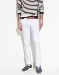 dressed to sail in white slim stretch trousers, $60 @zara